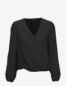 Wrap-Effect Top - BLACK