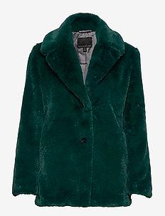Faux Fur Short Coat - fuskepels - glen green