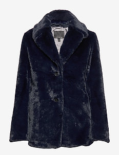 Faux Fur Short Coat - fausse fourrure - navy