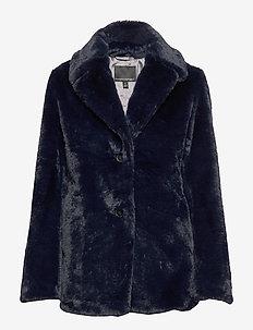 Faux Fur Short Coat - NAVY