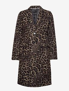 Leopard Print Top Coat - manteaux de laine - camel/animal print