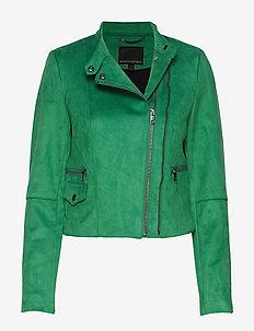 Vegan Suede Biker Jacket - skinnjakker - bright green