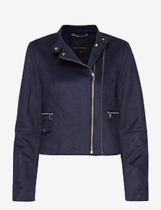 Vegan Suede Biker Jacket - vestes en cuir - navy