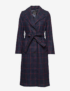Plaid Italian Melton Long Coat - trenchcoats - preppy navy