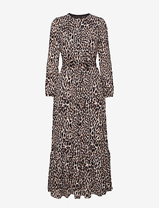 I LS BUTTON DOWN ANIMAL PRINT MAXI - LEOPARD