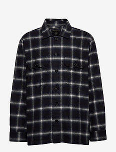 Slim-Fit Shirt Jacket - NAVY PLAID