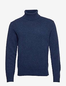 Italian Merino Turtleneck Sweater - basic knitwear - blue marl ws