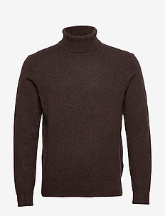 Italian Merino Turtleneck Sweater - basic knitwear - deep brown