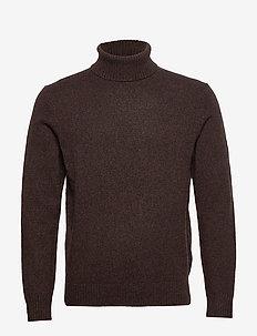 Italian Merino Turtleneck Sweater - DEEP BROWN
