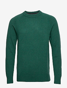 Italian Merino Crew-Neck Sweater - basic knitwear - aquatic green