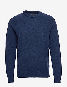 Italian Merino Crew-Neck Sweater - basic knitwear - blue marl ws