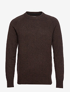 Italian Merino Crew-Neck Sweater - basic strik - deep brown
