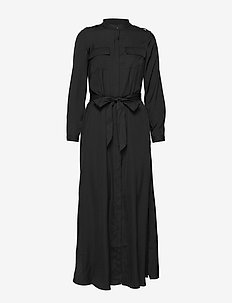 Utility Maxi Shirt Dress - BLACK K-100