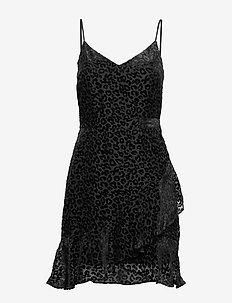 Leopard Velvet Mini Dress - BLACK K-100
