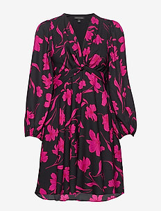 Floral Puff-Sleeve Dress - BLACK FLORAL