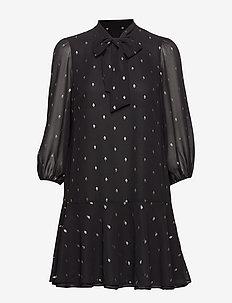 Metallic Dot Tie-Neck Dress - BLACK/GOLD