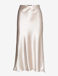 Satin Midi Slip Skirt - CHAMPAGNE