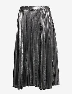 Metallic Pleated Midi Skirt - midi skirts - dark charcoal