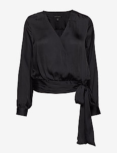 Soft Satin Puff-Sleeve Top - BLACK