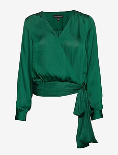 Soft Satin Puff-Sleeve Top - JEWELED GREEN