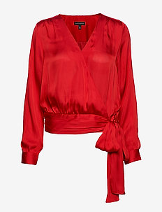 Soft Satin Puff-Sleeve Top - ULTRA RED