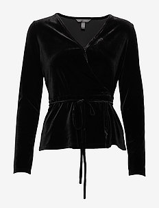 LS WRAP VELVET TOP OLX - BLACK K-100