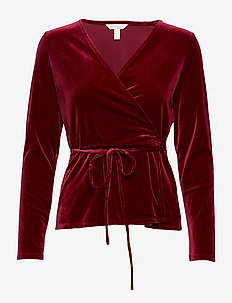 LS WRAP VELVET TOP OLX - VAMP RED