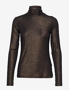 Metallic Soft Stretch Turtleneck T-Shirt - hauts à manches longues - black k-100