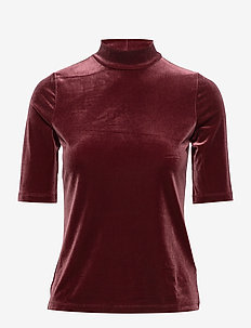 Velvet Mock-Neck Top - CRANBERRY