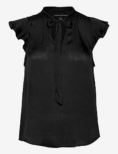 I SS FLUTTER SLEEVE TIE NECK SOLIDS - short-sleeved blouses - black k-100