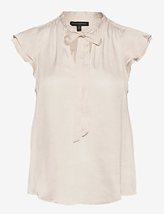 I SS FLUTTER SLEEVE TIE NECK SOLIDS - short-sleeved blouses - snow day