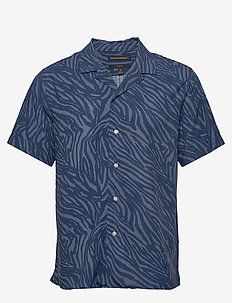 Slim Soft Camp Shirt - À manches courtes - navy