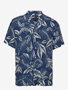 Slim Soft Camp Shirt - kortærmede skjorter - navy
