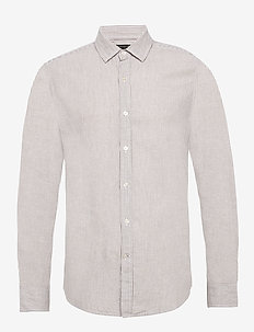 Untucked Slim-Fit Linen-Cotton Shirt - décontractées - brown mini stripe
