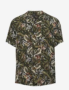 Slim Soft Camp Shirt - kortærmede skjorter - olive