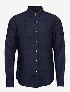 Untucked Slim-Fit Linen Shirt - chemises basiques - pacific blue