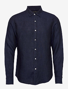 Untucked Slim-Fit Linen Shirt - basic skjorter - pacific blue