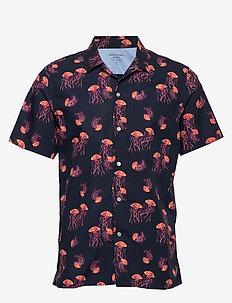 Slim-Fit Luxe Poplin Camp Shirt - kortærmede skjorter - midnight indigo