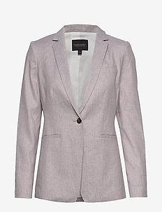Long & Lean-Fit Linen-Cotton Blazer - vestes tailleur - light sand dune