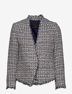 Collarless Metallic Tweed Blazer - blazers - coastal blue