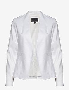 Collarless Linen-Cotton Blazer - blazers - vwhite