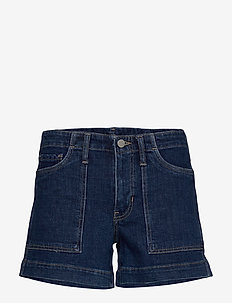 "Mid-Rise 4"" Utility Denim Short - denimshorts - medium wash"