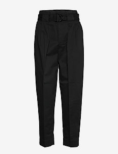 High-Rise Tapered Cropped Pant - pantalons casual - black k-100