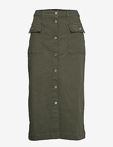 Denim Utility Midi Skirt - jupes longues - dark olive 629