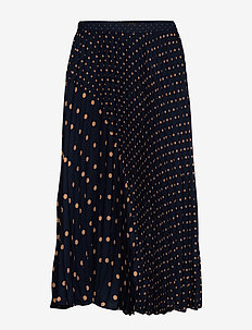 Polka Dot Pleated Midi Skirt - jupes midi - navy dot