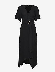 Handkerchief-Hem Wrap Dress - slå-om-kjoler - black k-100