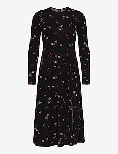 Print Fit-and-Flare Dress - BLACK FLORAL