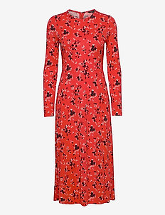 Print Fit-and-Flare Dress - midi dresses - red ditsy floral