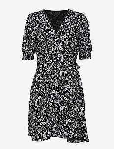 Print Wrap Mini Dress - slå-om-kjoler - black print