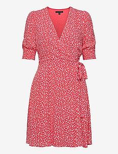 Print Wrap Mini Dress - slå-om-kjoler - warm ditsy floral